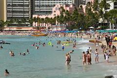 Waikiki Beach (trailwalker52) Tags: oahu waikiki beach ocean beautiful relaxing peaceful crowded exciting royalhawaiianhotel royalhawaiian vacation fun havefun trip hawaii