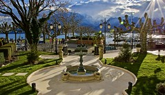 Lovely day in Vevey (somabiswas) Tags: grandhoteldulac vevey switzerland morning alps landscape garden