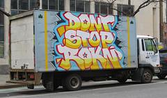 DONT STOP ROKIN (TheMachineStops) Tags: outdoor 2018 nyc newyorkcity manhattan truck vehicle 6thavenue sixthavenue box streetart urbanart graffititrucks road street