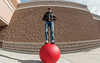 Standing on a Red Concrete Ball at Target (The.Mickster) Tags: self wideangle portrait fisheye ball hereios 365 target wall randy