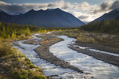 Quill Creek (andrewpmorse) Tags: quill creek quillcreek yukon yukonterritory canada northerncanada kluane kluanenationalpark nationalpark nationalparks water river mountains braids lines leadinglines fall rapids goldenhour sunset canon 5dmarkiv longexposure landscape landscapes