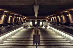 Have you ever tried to dream about the light? (akigabo) Tags: montreal architecture lights texture downtown metro underground stairs abstract contrast canon t5i dsrl 700d 18mm shadows art akigabo patterns dream