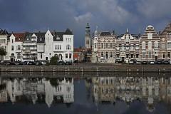 Middelburg, Zeeland the Netherlands (José Kroezen) Tags: zeeland middelburg nederland thenetherlands stadsgezicht oldtown historic town dutch reflection waterreflection citystreet nikon 1 j5