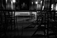 out of the row (cactus2016) Tags: rouen chaises noiretblanc emptychairs blackandwhite architecture clairobscur contrejour absoluteblackandwhite