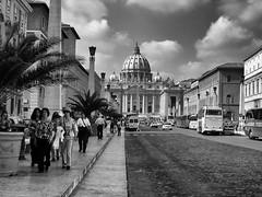 Piazza San Pietro (W@nderluster) Tags: roma vaticano street city italy travel blackandwhite bw church basilica people rome sanpietro italia town mono monument history