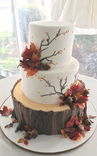 Tree Stump Fall Wedding Cake