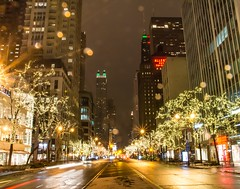 The Big Picture . . . (Dr. Farnsworth) Tags: michiganavenue themagnificentmile christmas lights cars reflections raining sunday night chicago il illinois winter january2018