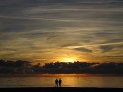 Together ... (Adriana 2012) Tags: together reflections light golden clouds sea sky seascape sunset