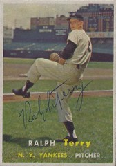 1957 Topps - Ralph Terry #391 (Pitcher) - Autographed Baseball Card (New York Yankees) (Treasures from the Past) Tags: 1957 topps 1957topps baseball cards baseballcard vintage auto autograph graf graph graphed sign signed signature ralphterry newyorkyankees pitcher