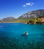 Deep Blue Sea (Alex Demich) Tags: sea boat mountains mountain transparent water surface blue green landscape nature outdoor hiking tourism travel sky turkey lycianway coast