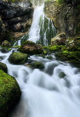 Falling water (Simon.Ru) Tags: nature landscape longexposure 6dmarkii waterfall forest wood green tree brown water river mountains light winter cold ice bright photography moss stones rocks