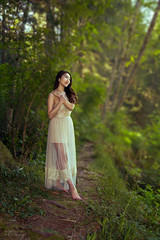 (Wendy Lu.) Tags: wendylu canon5d lynn canyon vancouver nature beautiful creek water path forest green fantasy dream surreal asian girl long hair yellow dress prom gown sitting standing immersed