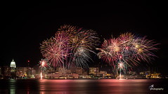 Rhythm n Booms (roel rocero) Tags: madison monona wisconsin rhythmnbooms cityscape lights night capitolbuilding lake longexposure fireworks