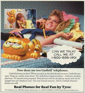 1986 Ad, Garfield the Cat Telephones, Tyco Industries, Teen Girls