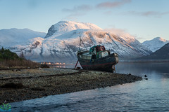 Corpach Boat (James G Photography) Tags: abandonnedboat bennevis boat caledoniancanal corpach fortwilliam highlands lochlinnhe scotland scottishhighlands snow sunset winter caol unitedkingdom gb