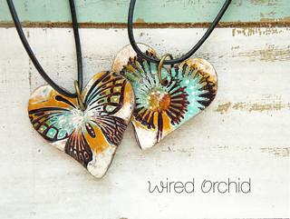 Butterfly flower hearts