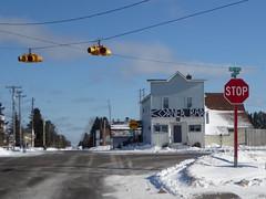 Corner Bar--Explored (yooperann) Tags: bar tavern small town upper peninsula michigan winter snow blue skies crossroads intersection street highway