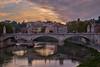 Bridge on the Tiber (AgarwalArun) Tags: sony a7m2 sonyilce7m2 landscape scenic nature views rome italy castelsantangelo rivertiber sunset clouds bridge reflections nightscene