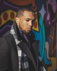 Harlem graffiti wall (zacharymayo) Tags: model modeling models portrait portraits portraiture fashion men gq man graffiti harlem nyc manhattan new york city urban art scarf jacket cold january december winter wind sony alpha a6000 camera mirrorless 18 bokeh aperture tones saturation color yellow purple blue red insta zmayonyc pose look
