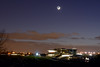 Hearthshine over Cheltenham racecourse (Lumière cendrée) (Gwenael B) Tags: moon lune cheltenham racecourse dusk cresent earthshine lumierecendree night nightshot astrophoto astroscape sky astro nikond5200 tamron16300mm