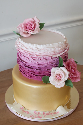 Ruffles Gold and Flowers Cake