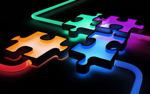 3D Colorful Puzzle Wallpaper