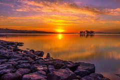 sunset 6387 (junjiaoyama) Tags: japan sunset sky light cloud weather landscape purple orange contrast color bright lake island water nature winter calmness reflection