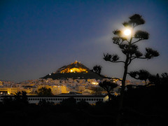 Moon eclipse over Lycabettus (AlexKapunkt) Tags: moon eclipse supermoon rising athens athen night blue aakzie greece griechenland berg mountain nacht licht light lunar luna