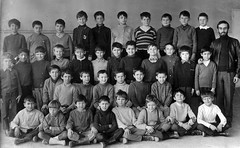 Class photo (theirhistory) Tags: children child boys kids school class form wellies teacher jacket shoes trousers jumper rubberboots shirt pupils students education