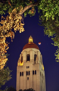 Bloody moon at Hoover Tower