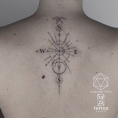 Compass Tattoo (13.22 Tattoo Studio) Tags: mr j best 1322 tattoo studio sourgrapestattoo london art fineline queens park nw northwest nw6 abstract blackandgrey blackwork sketch single needle compass