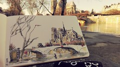 Notre-Dame depuis le quai, décrue de la Seine, Paris (velt.mathieu) Tags: paris croquis sketch notredame watercolor aquarelle mathieuvelt