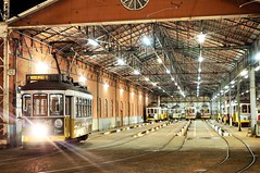 Lisbon Tram Depot (Richard Woodhead) Tags: yellow nostalgic nostalgia retro strasenbahn transport outdoors night tramway remise depot strassenbahn villamos tram lisboa lisbon