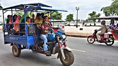 Loaded Up (CAMBODIA) (ID Hearn Mackinnon) Tags: phnom penh cambodia 2017 south east asia asian people tuktuk tuk motorbike taxi motorcycle muslim islam women river tonle sap riverside city urban street road cambodian khmer transport