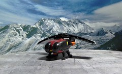 Spectrum HoverJet in The Alps. (ManOfYorkshire) Tags: captain gerryanderson sig spectrum spectrumisgreen hoverjet copter jet diecast hotwheels modified detailed repainted added parts inspired tvseries diorama homemade alps scarlet imagine stol vtol imagination