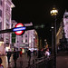 Piccadilly Circus station at night