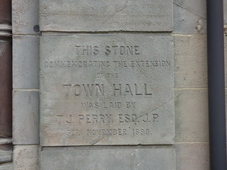 Bilston Town Hall - Church Street and Lichfield Street, Bilston - stone commemorating the extension of the Town Hall in 1880