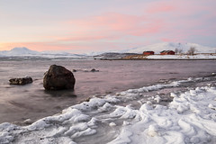 Arctic Beach (Role Bigler) Tags: arctic beach cold frozen ice mountains norge norway redsky rock rocks rockybeach sea shore snow sunrise winter tromsø tromsö