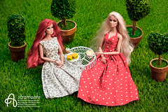 Sabrina and Jasmina (astramaore) Tags: astramaore dollphotography integritytoys fashion fashionroyalty fashiondoll dress longhair redhead red blonde chic beauty glam style coffee cheeseburger fulllips trees summer out sass edge vanessa perrin