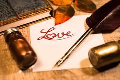Written Love (Theo Crazzolara) Tags: love liebe heart herz written writing pen feather ink book romantic romance ancient art stilllife calligraphy kalligrafie heartsickness lovesickness beautiful letter classic gold