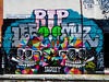 RIP Lee and Muz (Steve Taylor (Photography)) Tags: rip lee murray muz1 semy dscreet owl teeth sunglasses sunnies smile grimsbystreet e2 reefer triangle access use mosaic graffiti mural memorial tribute streetart tag colourful contrast uk gb england greatbritain unitedkingdom london kerb eyes beak