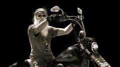 Race with the Devil (Jon Scherff) Tags: motorcycle harleydavidson biker people sepia beard shades sunglasses attitude