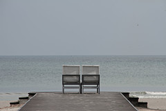Awaiting (Chandana Witharanage) Tags: srilanka southasia pearloftheindianocean lifeisarainbow oneyearincolours grey gris beach chairs horizon awiting 752weeks february 7dwf saturdaylandscapes