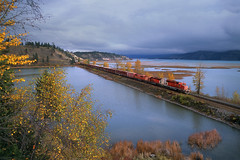 Autumn at Canal Flats (Moffat Road) Tags: canadianpacific cp cprail wayfreight cpwindermeresub canalflats britishcolumbia locomotive railroad emd gmd sd402 6019 fallcolor autumn canada bc