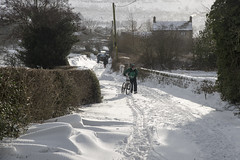A bit of a cold snap (Keartona) Tags: beastfromtheeast snow road countryroad lane woodseatslane charlesworth derbyshire england morning snowdrift blocked weather winter cyclist