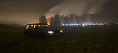 (Sam Tait) Tags: night photography ratcliffe soar power station cooling tower towers volvo 940 945 gl blue wagon estate headlights lights