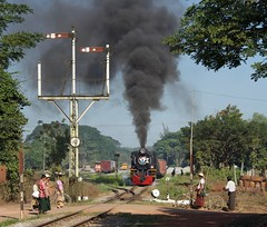 Mokpalin Burma 10th January 2018 (loose_grip_99) Tags: burma myanmar asia steam engine locomotive railway railroad rail train yd 282 967 transportation transport gassteam trains railways mokpalin semaphore signals departure smoke