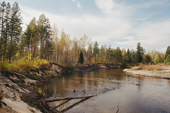 река Малый Кундыш / Maliy Kundysh river (MatveyKarmakov) Tags: nikon nikonf3 f3 24mm 35mm kodak color landscape forest wood river folk