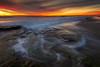 Last Call (David Colombo Photography) Tags: ocean seascape sunset swamis sky color orange red blue clouds waves lowtide davidcolombo davidcolombophotography d800 nikon landscape pacific shore beach reef rocks sand winter sandiego california