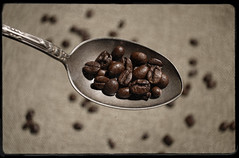 Coffee Beans (N.the.Kudzu) Tags: home tabletop stilllife coffee beans spoon canon70d lensbaby burnside35 dxoopticspro11